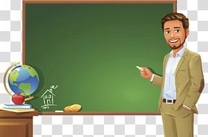 homem segurando giz branco em pé perto de ilustração de lousa, professor professor quadro-negro, professor de pé no pódio PNG clipart