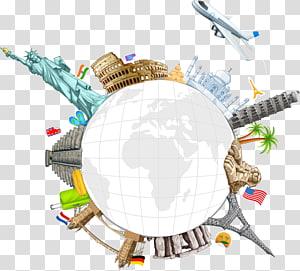 ilustração do marco mundial, World Travel, marcos criativos da superfície Creative Earth PNG clipart