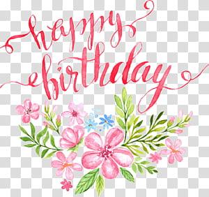 Ilustração de cartão de caligrafia de aniversário, flores, letras de feliz aniversário fivela clip Free HD, flores cor de rosa, pintura com texto de feliz aniversário PNG clipart