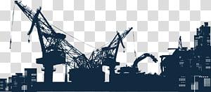 silhueta de edifícios, engenharia arquitetônica Silhouette Crane Equipamento pesado, cidade silhueta guindaste de construção PNG clipart