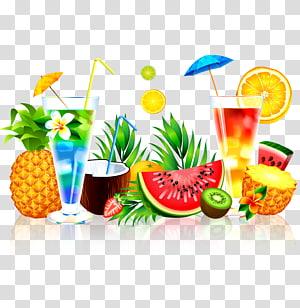 Suco de frutas melancia abacaxi, suco de verão, variedade de frutas png