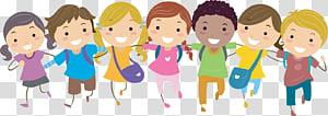 Conteúdo para crianças, Pic School Children, grupo de crianças sorridentes segurando seus ombros ilustrações PNG clipart