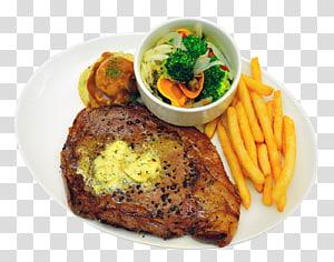 batatas fritas e carne grelhada no prato de cerâmico branco, hambúrguer batatas fritas bife de pimenta, prato de comida PNG clipart