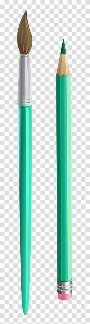 dois pincel de tinta verde-azulado e lápis, pincel de lápis, pincel e lápis PNG clipart