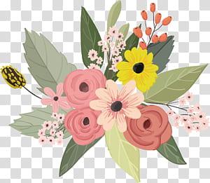 Flor Design floral, ilustração de flores em aquarela, rosa, amarelo e laranja png