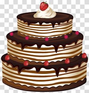 Bolo mocha com ilustração de morango, Bolo de aniversário Bolo de chocolate Cupcake, Bolo png