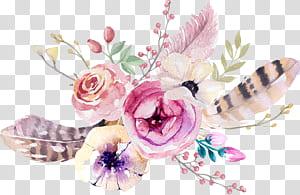 Buquê de flores Boho-chic Serviços de Design de Interiores, Boêmia, pintura de arranjo de flores de pétalas rosa e brancas png