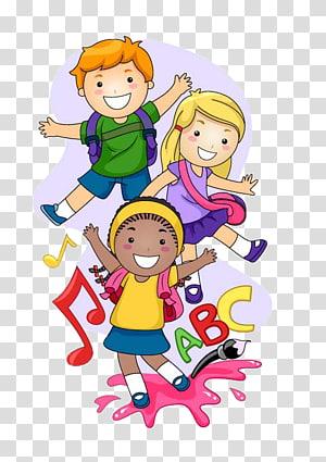 Ilustração de criança pré-escolar, caminho para crianças em idade escolar, ilustração animada de crianças PNG clipart