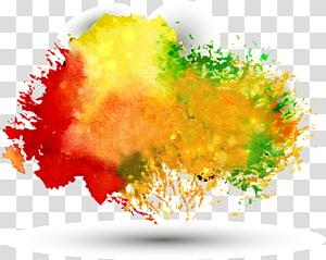 Cor da tinta, fundo de aguarela multicolorido de tração livre png