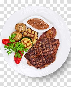 prato de carne assada, batatas, com molho e folhas de salsa, grelha de churrasco Bife prato de carne Grelhar, grelha PNG clipart