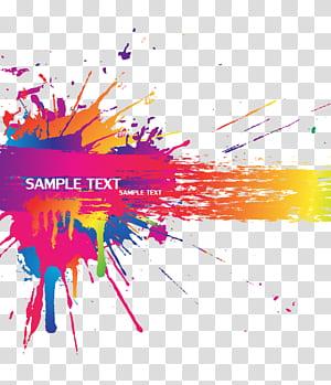 Respingo de cor, material de fundo de respingo de cor, sinal de texto de exemplo PNG clipart