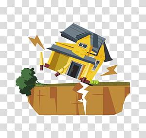 casa amarela e azul, deslizamento de terra do terremoto, terra colorida após o terremoto PNG clipart