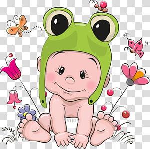 bebê usando sapo verde ilustração de chapéu de bicho, bebê PNG clipart