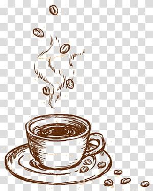 Ilustração de xícara de café, Xícara de café Cappuccino Cafe, Material de café gourmet pintado à mão png