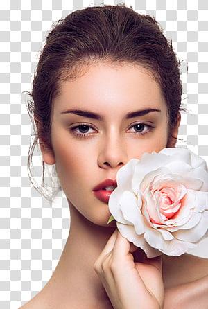 Extensões de cílios Depilação Cosméticos Perm, Europa e Estados Unidos lindas modelos, mulher segurando rosa branca e rosa PNG clipart