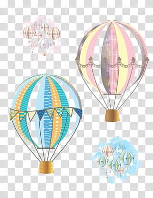 Balão de ar quente vôo avião, balão de ar quente dos desenhos animados, ilustração de balões de ar quente rosa e azul png