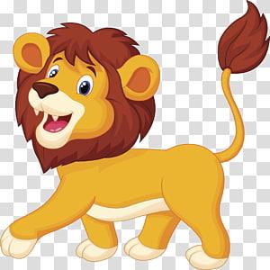 Animação de desenhos animados de leão, leão, leão png