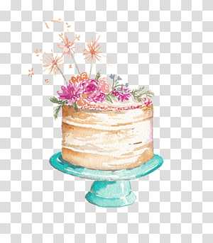 Glacê e Glacê Bolo de casamento Bolo de beija-flor Torta Bolo de açúcar, bolo de aquarela, bolo floral no carrinho png