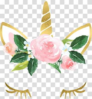 unicórnio aquarela pintura aquarela flores, unicórnio, rosa, amarelo, branco e verde unicórnio ilustração PNG clipart