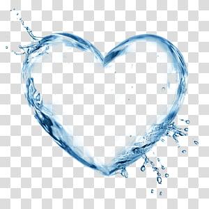 ilustração de coração de água azul, água, salpicos de spray, cuidados com a pele hidrosfera do coração fresco png