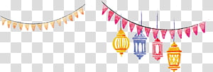 Bandeira de lanterna aquarela pintada à mão, quatro lâmpadas de cores sortidas PNG clipart