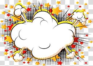 Comics Cartoon Explosion Banda desenhada, explosão de quadrinhos de nuvem, ilustração digital de nuvens brancas PNG clipart
