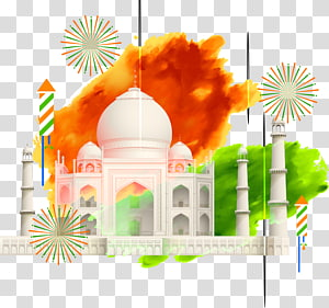 Taj Mahal, arte da Índia, Taj Mahal Bandeira da Índia Ilustração, tinta colorida Taj Mahal PNG clipart