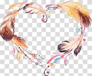 Amuleto de grinalda Pintura em aquarela Apanhador de sonhos, Grinalda de penas étnica, grinalda de penas marrom e amarela PNG clipart