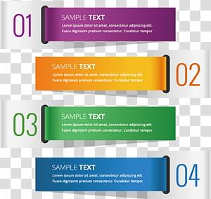 01 a 04 de amostra de texto, etiqueta pintada em cores para banners digitais PNG clipart