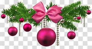 fronteira rosa e verde com tema de Natal, decoração de bolas de Natal rosa PNG clipart