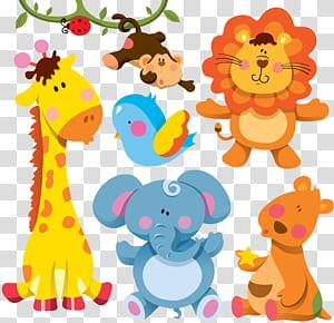 Girafa Cartoon Animal ilustração, animais dos desenhos animados, adesivos de animais sortidas PNG clipart