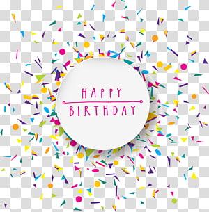 Ilustração de feliz aniversário, confete de festa de aniversário, cartão de aniversário de blocos coloridos PNG clipart