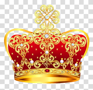 Coroa, coroa de ouro e vermelho com pérolas, ilustração de coroa real amarela e vermelha PNG clipart