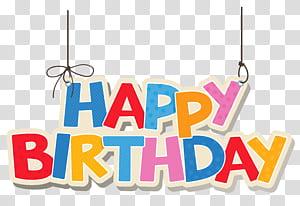 Bolo de aniversário, feliz aniversário colorido de suspensão, ilustração de feliz aniversário png