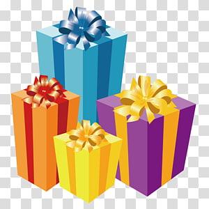 ilustração de caixas de presente sortidas, vela de presente de Natal, presente png