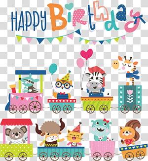 Ilustração de buntings de feliz aniversário, ilustração de aniversário dos desenhos animados, animais dos desenhos animados de cartão de aniversário PNG clipart