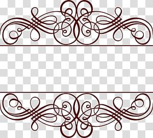 quadro ouro, laço de linha de café, ilustração de fronteira marrom dois feligree png