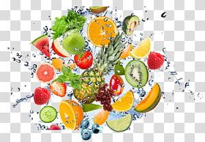 frutas tropicais fatiadas, frutas, respingos de água de frutas png