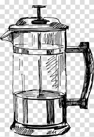 esboço da imprensa do café, desenho da chaleira da cozinha da cafeteira, esboço da cozinha png