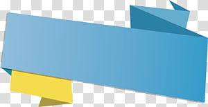 modelo de forma geométrica verde e amarelo, caixa de título de fita azul, azul de papel origami png
