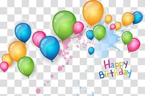 Desejo de aniversário Cartão de convite de casamento, material de feliz aniversário balões, balões de cores sortidas com texto de feliz aniversário png