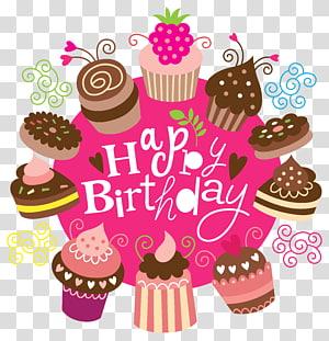 Bolo de aniversário gráficos, feliz aniversário com bolos, ilustração de cupcake feliz aniversário png