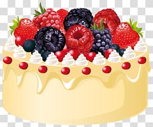bolo com ilustração de coberturas de framboesa e morango, bolo de frutas bolo de casamento bolo de aniversário, bolo de frutas com velas png