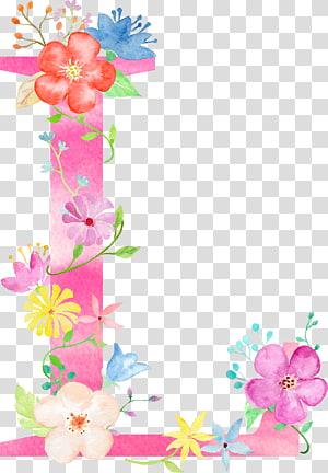 ilustração de letra L de flores cor de rosa e brancas, alfabeto de almofada de design Floral de letra, letra de flores L PNG clipart