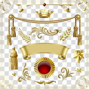 Ícone do Adobe Illustrator, coroa e banner dourados, decoração de coroa e grinalda na superfície azul PNG clipart