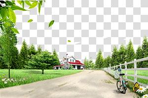 parque de bicicleta ao lado da cerca perto da casa sob o céu azul, estrada rural png