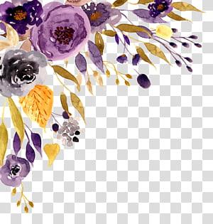 Convite de casamento Flor Pintura em aquarela, Pintura em aquarela flor, roxo, cinza e preto flores pintura png