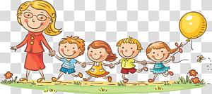 Criança professora Cartoon Kindergarten, professores e crianças, mulher com ilustração de quatro crianças PNG clipart