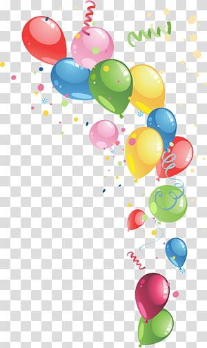 ilustração de balão de cores sortidas, festa de balão, balões coloridos PNG clipart