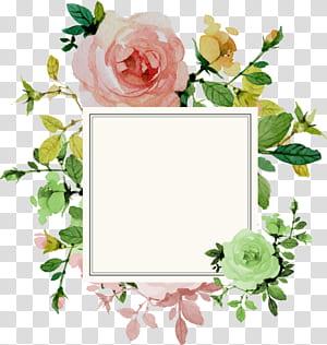 Convite de casamento flor rosa, borda de flor, moldura quadrada branca com ilustração de fundo floral png